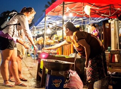 Nachtmarkt in Luang Prabang, Laos