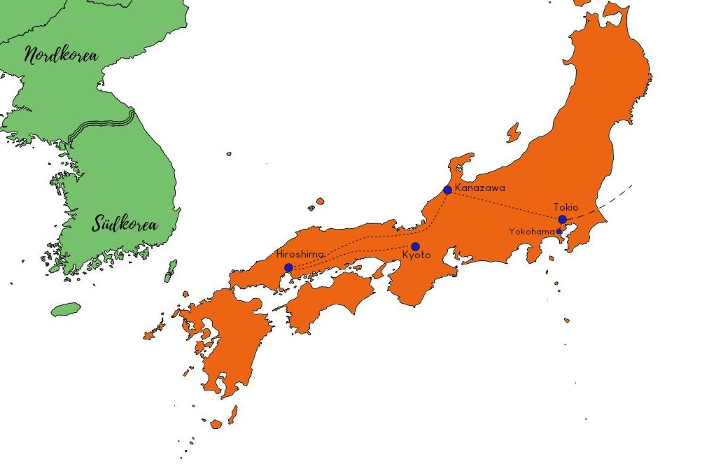 Route für individuelle Japan Familien Rundreise