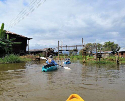 Kajak fahren am Inle See