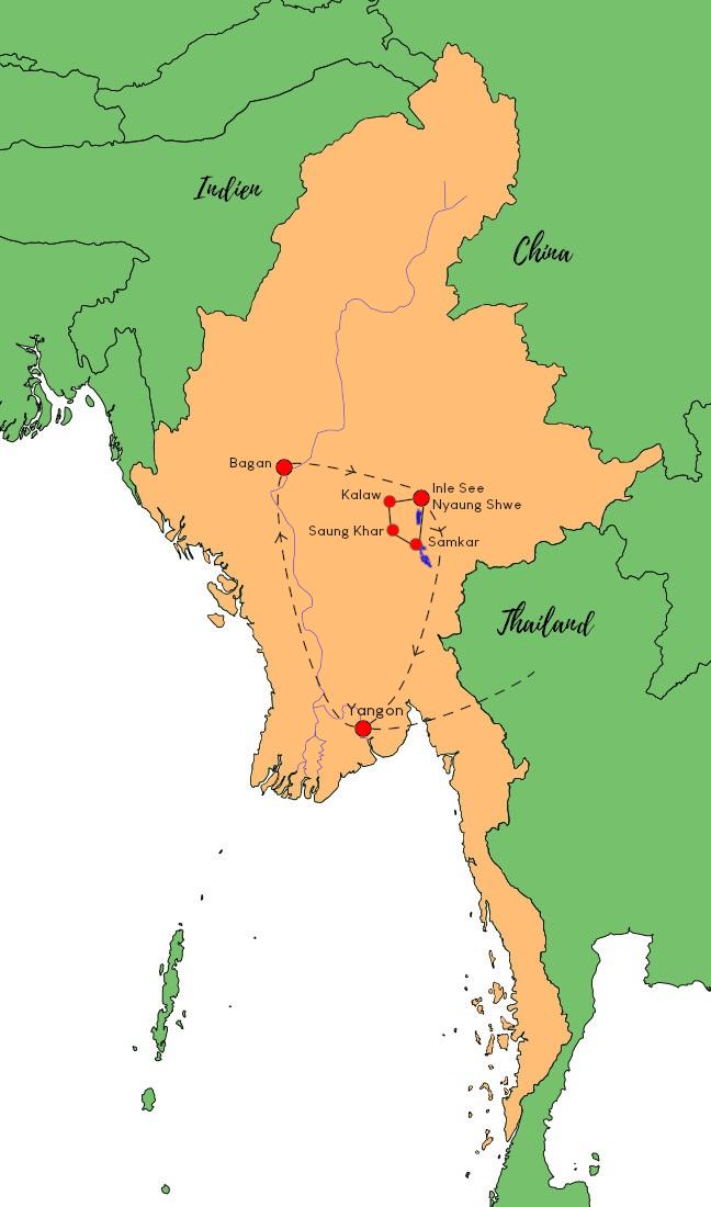 Reiseroute für eine aktive Familienreise in Myanmar