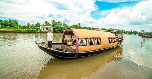 Victoria Sampan Mekong Delta, traditionelle Reisbarke im Mekong Delta