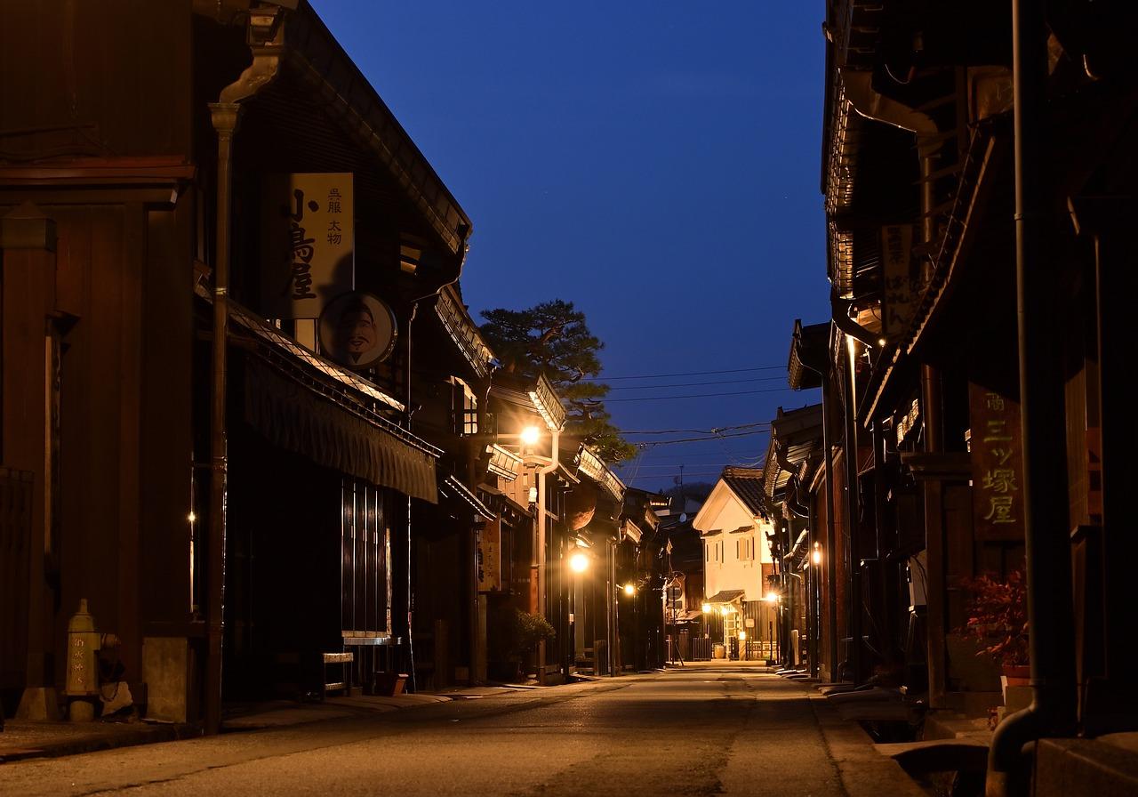 alte Straße in der Bergstadt Takayama